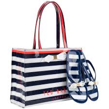flip flop bag lyst ted baker bettia stripe shopper bag and flip flop set in blue