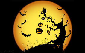 kid halloween background halloween scary night owl bats jack o lanterns tree yellow holiday
