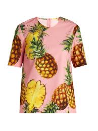 Light Blue Dolce And Gabbana Womens Dolce U0026 Gabbana Pineapple Print Cotton Poplin Top Pink Womens