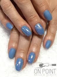 fluid nail design acrylic nails with blue gel polish with mermaid