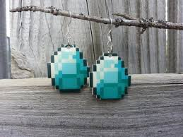 minecraft earrings minecraft diamond earrings sprite stitch