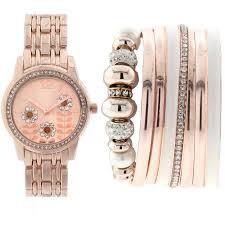 rose gold bracelet set images Women 39 s rose gold tone watch with stackable bracelets set jpeg