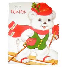 love to pop pop unused vintage norcross flocked die cut christmas card