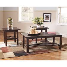 signature design by ashley lewis brown occasional table set of 3