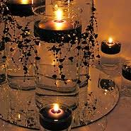 black and gold centerpieces floating candle centerpiece ideas