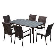divanetti in vimini da esterno outsunny set mobili da esterno in pe rattan tavolo da pranzo con 6