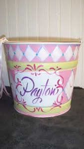 painted easter buckets easter personalized painted tin pail