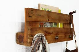 furniture wall mounted rustic wood shelf with coat hanger as well