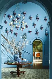 blue foyer with wainscoting blue and white chinese ceramics by