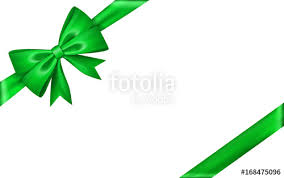 gift bow ribbon silk green bow tie isolated white background 3d