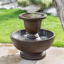 Fountains For Home Decor Jeco Polyresin 2 Tier Fountain Walmart Com