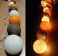 caramel vintage orange tone cotton ball string lights party