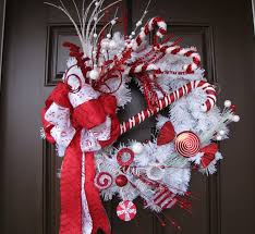flocked red and white christmas wreath with by thewrightwreath
