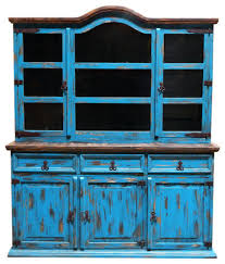 turquoise scrape medium 2 piece china cabinet southwestern
