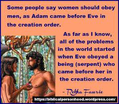 Creation Meme - creation order meme who should listen to who biblical personhood