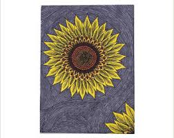 sunflower drawing etsy