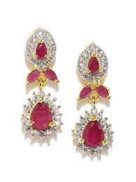 ruby drop earrings ruby pear cz drop earrings