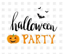 halloween party clipart greeting card for halloween party with smiling pumpkin and bats