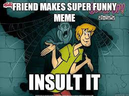 Super Funny Meme - friend makes super funny meme insult it irrational shaggy