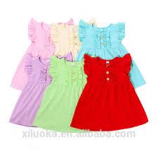 100 cotton dress designs round neck baby flutter sleeve kids