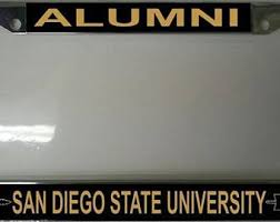 sdsu alumni license plate frame san diego state etsy