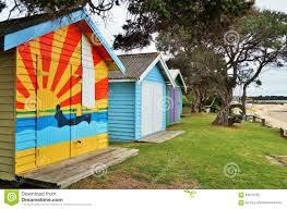 colorful beach cabins in the mornington peninsula in australia
