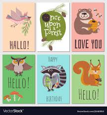 once upon forest cards collection animals vector image