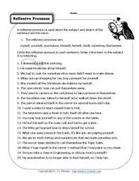 reflexive pronouns pronoun worksheets fun worksheets and sentences