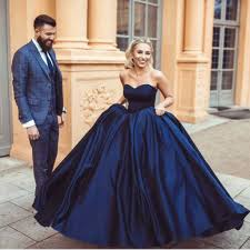 wedding and prom dresses navy blue sweetheart gowns satin wedding dresses 2018
