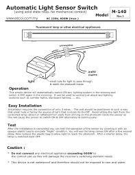 photocell sensor automatic light control switch m 140 automatic light sensor wiring diagram and user manual light