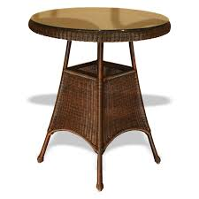 brown woven based panel bar table with round top having bamboo