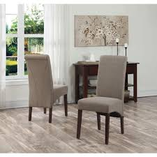 simpli home avalon light mocha polyester parsons dining chair set