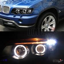 bmw x5 headlights 2001 2003 bmw e53 x5 black halo projector headlight w 6 led