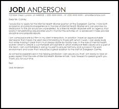 mental health worker cover letter sample livecareer