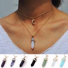 pendant choker necklace images Vintage 2 layer color natural stone pendants choker necklaces gold jpg