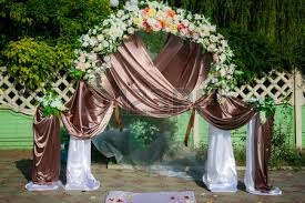 Wedding Archway Part Of Wedding Arch With Pink And White Flowers Stock Photo