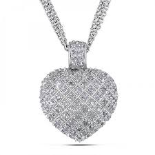 heart necklace with diamonds images Accented puffed heart pendant necklace sterling silver 1 00ct jpg