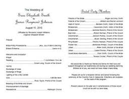ceremony program template free wedding program templates