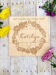 will you be my flower girl gifts wedding bridal party personalized puzzle will you be my flower
