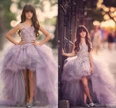 2017 luxury high low flower girls dress for teens 3d floral