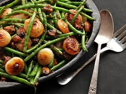 sautéed green beans with mushrooms and caramelized cipollini