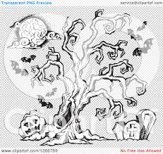 spooky clip art clipart of a black and white sketched spooky tree in a cemetery