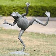 large 23 h happy frog spitter garden statue ebay