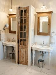 narrow bathroom cabinet brown classic wooden frame glass mirror