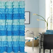 Frilly Shower Curtain Venezia French Blue Ombre Ruffled Shower Curtain