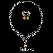 stone setting gold necklace images Feilang luxurious 18k gold flower shape stone zircon necklace and jpg