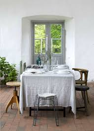 white tablecloth and eclectic chair mix linen pinterest