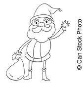 vector of children santa claus outline cartoon children in a