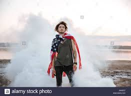 Flag Cape Brutal Man Wearing Usa Flag Cape Posing In White Smoke Outdoors