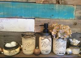 Mason Jar Bathroom Storage by Bathroom Set Mason Jar Set Flower Vase Shabby Chic Rustic